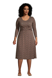 Women's Three-quarter Sleeve Twist Front Dress