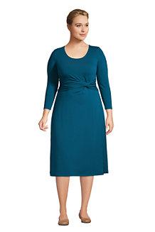 Jerseykleid mit Knoten und 3/4-Ärmeln für Damen