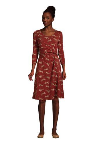Robe en Jersey Stretch Taille Twistée Manches 3/4, Femme Stature Petite