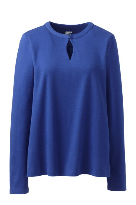 Women's Cotton Polyester Long Sleeve Convertible Keyhole Top