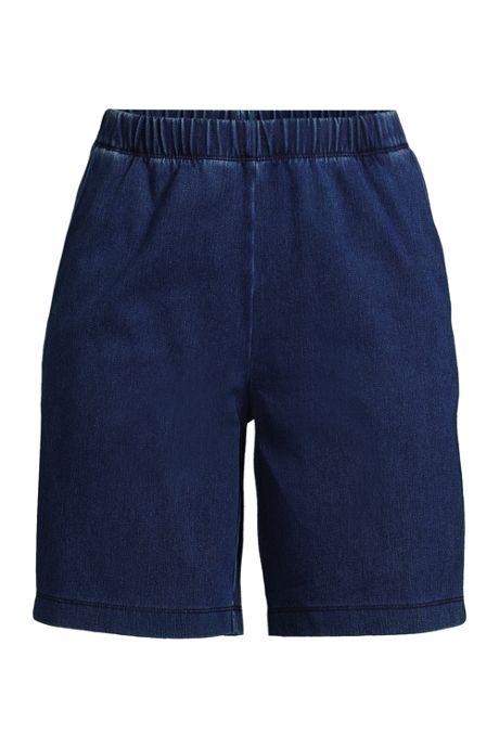 Women's High Rise Sport Knit Elastic Waist Denim Jean Shorts