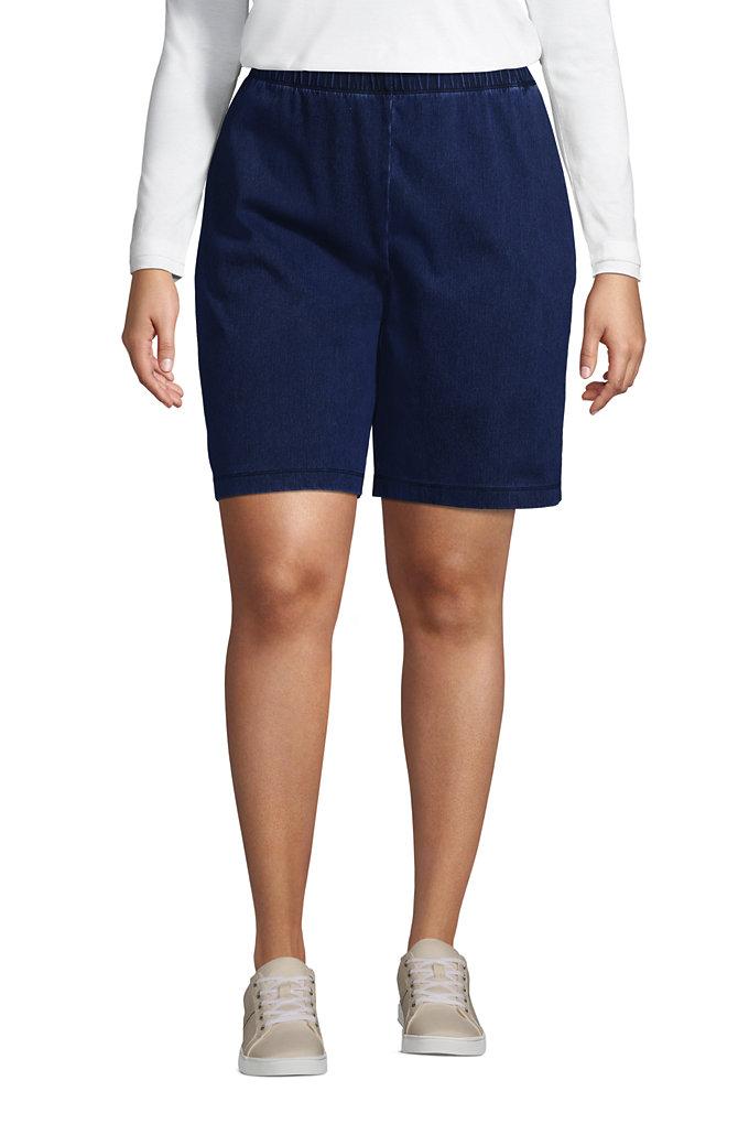Women's Plus Size High Rise Sport Knit Elastic Waist Denim Jean Shorts