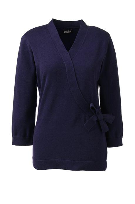 Women's Cotton Modal Three Quarter Tie Waist Pullover Sweater