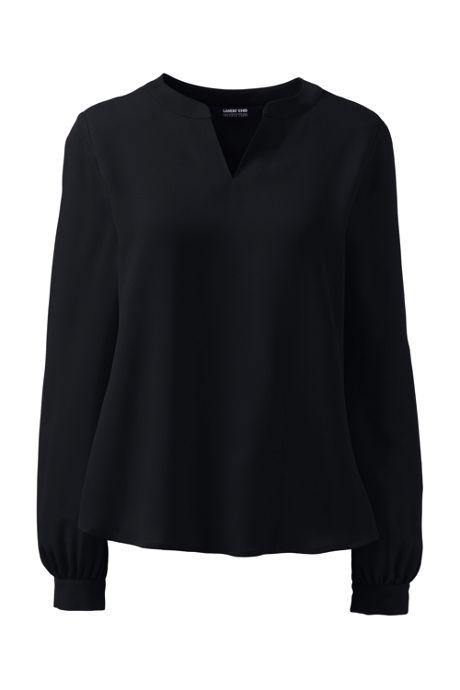 Women's Shirred Long Sleeve Split Neck Blouse