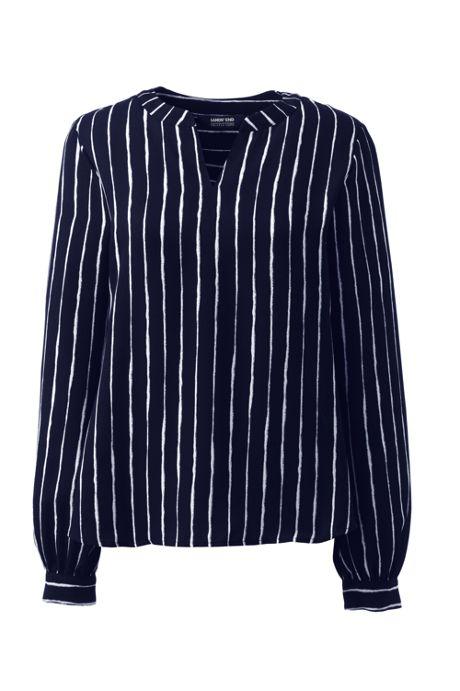 Women's Shirred Long Sleeve Stripe Split Neck Blouse