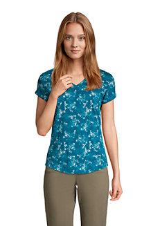 Shirt mit V-Ausschnitt aus Baumwolle/Modal für Damen