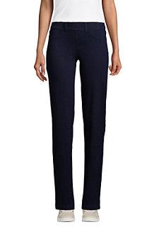 Womens Starfish Knit Denim Mid Rise Straight Leg Jeans