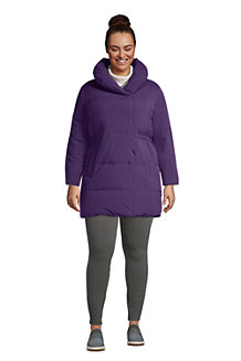 Women's Quilted Down Shawl Collar Wrap Coat With Stretch