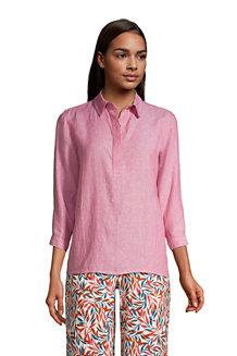 Women's Three Quarter Sleeve Linen Popover Shirt