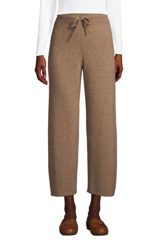 Women's Cashmere Wide Leg Cropped Loungewear Bottoms