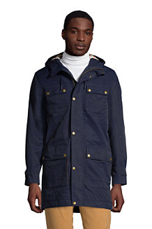Manteau à Capuche en Coton Ciré, Homme