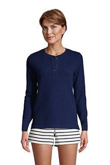 T-Shirt Henley Gaufré Lounge et Nuit à Manches Longues, Femme