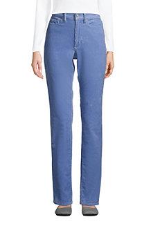 Pantalon Droit en Velours Côtelé Stretch Taille Haute, Femme