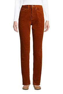 Women's High Waisted Wide Wale Corduroy Straight Leg Jeans