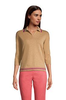 Women's Three Quarter Sleeve Fine Gauge Knit Cotton Polo Shirt