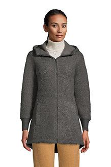 Fleece-Kapuzenmantel in Wollbouclé-Optik für Damen