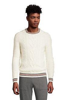Zopfmuster-Pullover mit gestreiften Bündchen für Herren