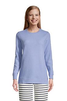 Sweatshirt Long Gaufré à Manches Longues, Femme