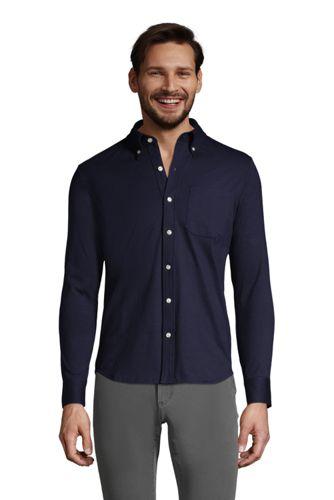 メンズ・スーパーT・ニット・ドレスシャツ/無地/長袖/ポケット付き