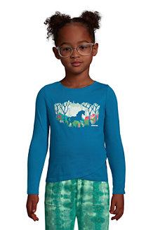 T-Shirt Graphique à Ourlet Tulipe et Manches Longues, Fille