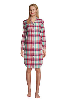 Flanell-Nachthemd mit Taschen für Damen