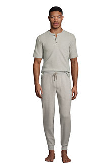 T-Shirt Henley Gaufré Lounge et Nuit en Coton Stretch, Homme