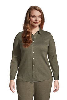 Women's Sport Knit Long Sleeve Button Front Tunic Top