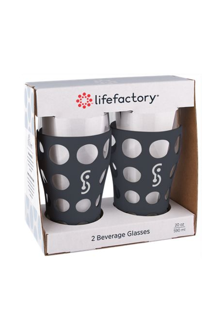 lifefactory 20oz Beverage Pint Glass with Silicone Sleeve 2 Pack