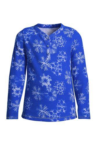 T-Shirt Henley Gaufré à Manches Longues, Fille