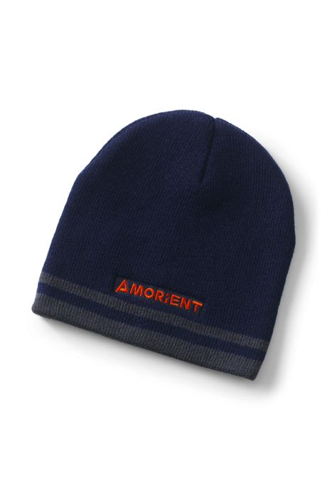 Double Stripe Custom Logo Knit Beanie Winter Hat