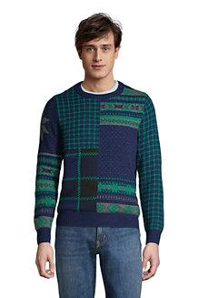Patchwork-Pullover mit Rundhalsausschnitt für Herren