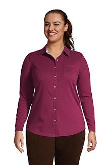 Women's Long Sleeve Knit Cotton Button Down Shirt