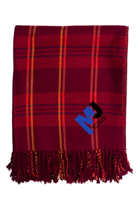 Custom Embroidered Bamboo Plaid Throw Blanket