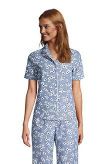 Draper James x Lands' End Kurzärmeliges Chambray-Pyjamahemd für Damen