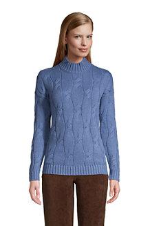 Women's Cotton Blend Cable Knit Polo Neck Jumper