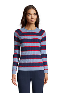Women's Fine Gauge Cotton Cable Rolled Crew Neck Sweater