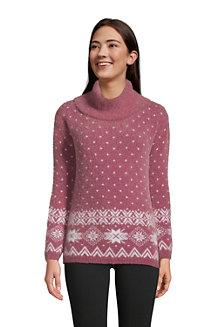 Jacquard-Pullover aus Fransengarn mit weitem Kragen für Damen