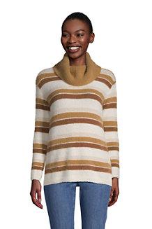 Gestreifter Pullover aus Fransengarn mit weitem Kragen für Damen