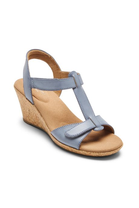Rockport Women's Blanca T-Strap Leather Wedge Sandals