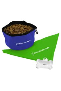 Dog Bandana and Collapsible Bowl Pet Kit