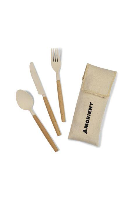 Gaia Custom Logo Bamboo Fiber Cutlery 3 Piece Set