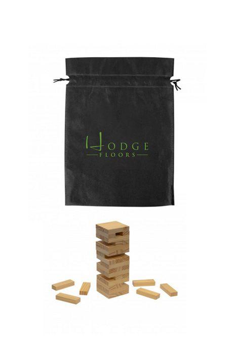Wood Tumble Tower Game with Custom Logo Bag