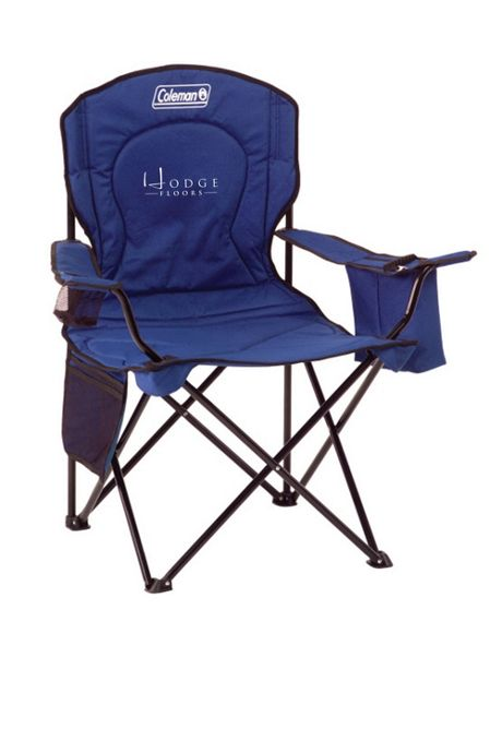 Coleman Custom Logo Cushioned Folding Quad Chair with Armrest Cooler