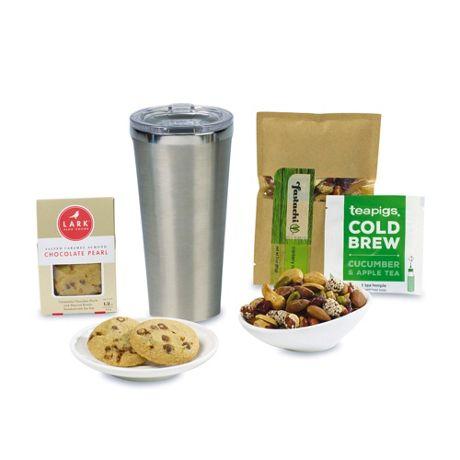 Corkcicle Welcoming Custom Logo 16oz Tumbler Gift Set with Snacks