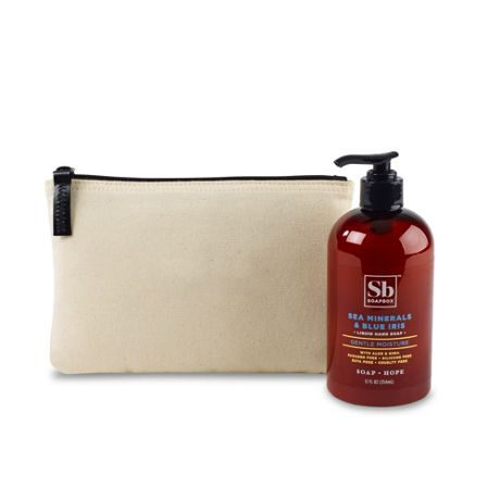 Soapbox Hand Soap and Custom Logo Zippered Pouch Gift Set