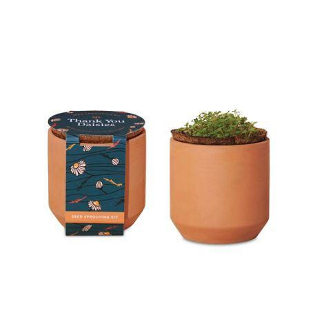 Modern Sprout Custom Logo Tiny Terracotta Grow Kit Thank You Daisies