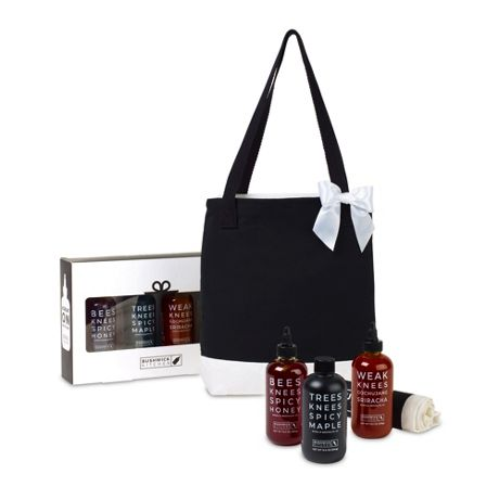 Bushwick Kitchen Trio of Spicy Sauces Gift Set with Custom Logo Tote