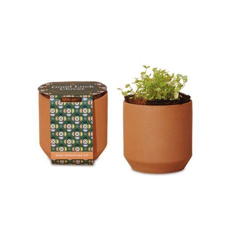 Modern Sprout Custom Logo Tiny Terracotta Grow Kit Good Luck Clover