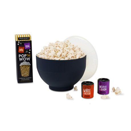 What's Pop'N Gourmet Popcorn Gift Set with Custom Logo Popper Bowl