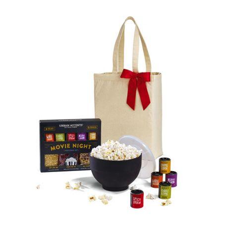 Movie Night Gourmet Popcorn Gift Set with Custom Logo Tote